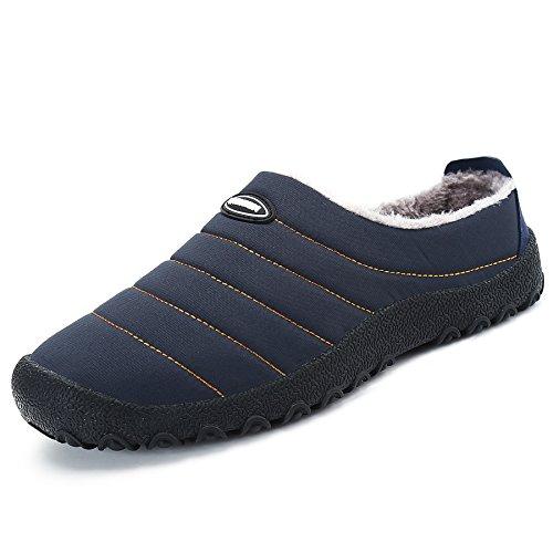 SAGUARO® Herren Damen Winter Hausschuhe Plüsch Warm Gefütterte Schneestiefel Baumwolle Slippers Outdoor Freizeit Schuhe (42 EU, Blau)