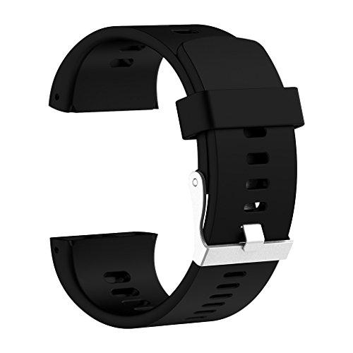 perfk Silica Gel Uhrenarmbänder Weiche Uhrenarmband Smart Watch Band für Polar V800 GPS Sportuhr - Schwarz