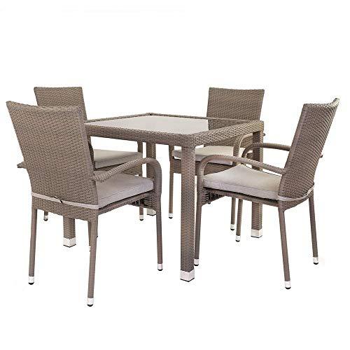 Conjunto de Mesa y sillas para terraza marrón de rattán plástico Garden -...