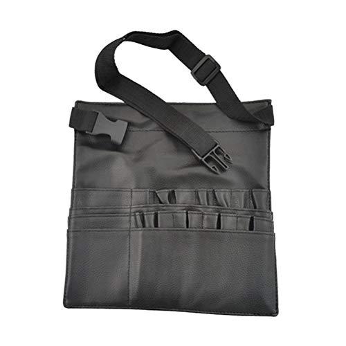 Lurrose 1 pç cinto de pincéis de maquiagem PU bolsa de avental portátil ajustável para cosméticos, bolsa de cintura para armazenamento de pincéis (preto)