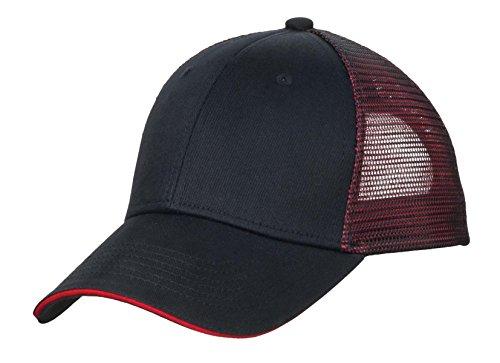 Port Authority® Double Mesh Snapback Sandwich Bill Cap. C818 Black/ Red OSFA