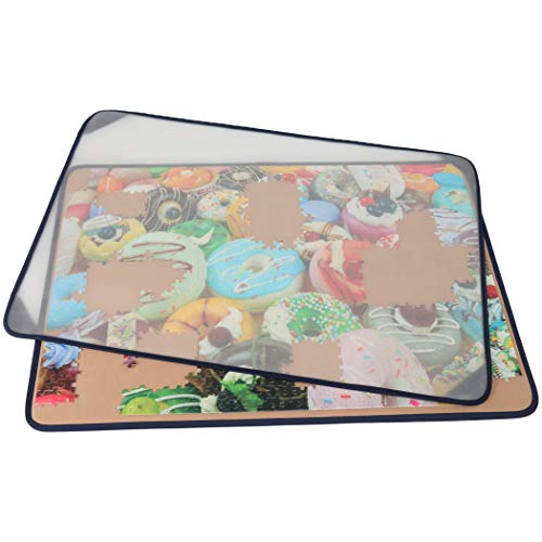 Tektalk Jigsaw Puzzle Board Portable Puzzle Mat with Puzzle Dustproof Cover for Puzzle Storage Puzzle Saver, Non-Slip Surface, Up to 1500 Pieces (Khaki)