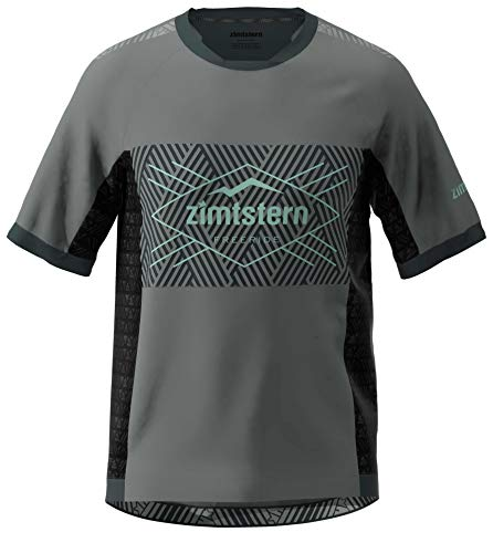 Zimtstern Techzonez SS MTB - Camiseta para Hombre, Hombre, Camiseta de MTB, M10041-2003-02, Gun Metal/Pirate Black/Granite Green, Small