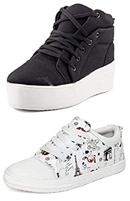 PrasKing Combo Pack of 2 Premium Printed & High Heel Sneaker Shoes for Women
