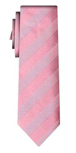 Cravate soie unie regular stripe pink in pink