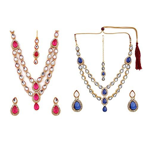 Efulgenz Indian Layered Traditional Bollywood 14 k Gold Plated Red Green Faux Kundan Bridal Necklace Earrings Maangtika Wedding Jewelry Set