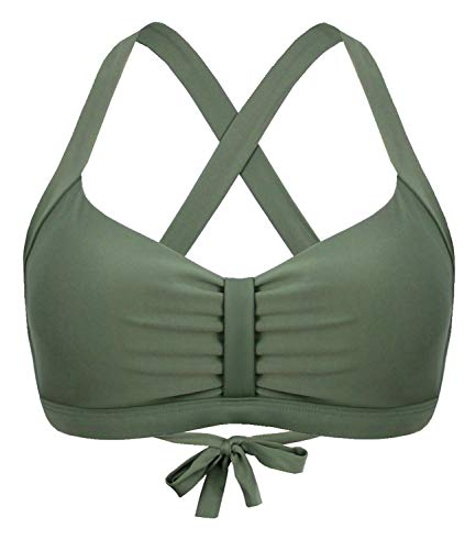 Balasami Women's Retro Button Down Gingham Printed Ajustable Straps Cross Back Vintage Swimsuit Top Olive