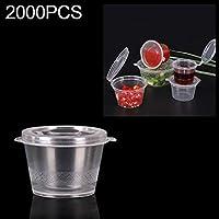 For Home & Garden ふた付き調味料ボックス包装Zlj 2000 PCS太い使い捨て透明なプラスチックテイクアウト、スタイル:1オンスシャムカップ25ミリリットル