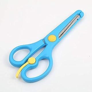 لوازم المكتب المدرسية للأطفال لوازم قطع ورقية منيونز لمدرسة رياض الأطفال مقص سلامة مرن بلون الحلوى (أزرق), ازرق