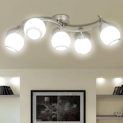Zora Walter Inner iluminación lámpara de Techo lámpara de Techo con Pantallas de Cristal en geschwungener Carril Techo Foco Bombilla