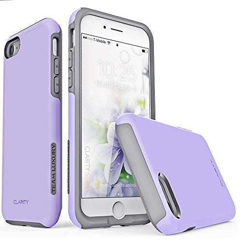 TEAM LUXURY iPhone SE 2020 Case & iPhone 7 Case & iPhone 8 Case, [Clarity Series] Shockproof, Anti-Drop Protection, Phone Case for iPhone 7/8/SE 2nd Generation for Women & Men (Lavender Purple/Gray)