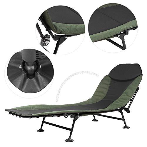 Draagbare campingstoel, opvouwbare ligstoel voor buiten 6 poten, picknick stoel, wandelkampstoel, achtertuin tuinligstoel met kussen, maximale belasting 180 kg