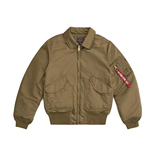Alpha Industries Men's Slim Fit CWU 45-P Flight Jacket (XL, Vintage Olive)
