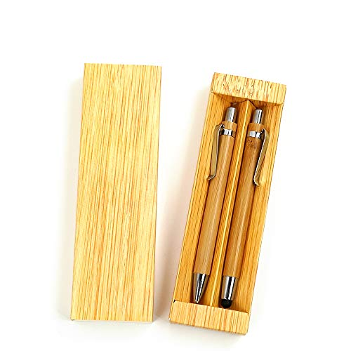 creative paper box packing eco friendly Gift Bamboo Pen set by Mount Huang?Calligraphy Pen for Journaling, Writing, Drawing, Built-in ballpoint pen and activity pencil