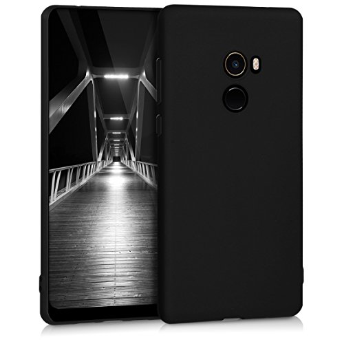 kwmobile TPU Silicone Case for Xiaomi Mi Mix 2 - Soft Flexible Shock Absorbent Protective Phone Cover - Black Matte