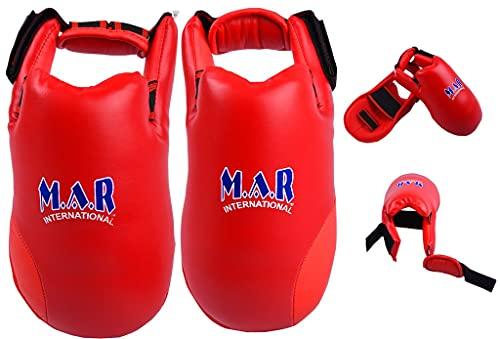M.A.R International Ltd. Elite Fußschutz für Kampfsport, Karate, Taekwondo, Boxen, Kickboxen, Thaiboxen, MMA, Muay Thai, Rot, Größe XS