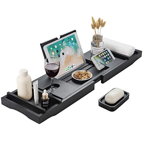 HBlife Bathtub Caddy Tray [Durable, Non-Slip], One or Two Person Bath and Bed Tray, Extending Sides Fits Any Tub, Cellphone iPad and Wineglass Holder, Free Soap Holder - Black