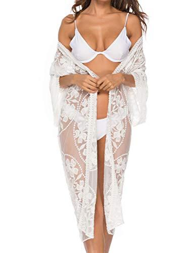 Bikini Cover Up Damen Elegant Bikini Cardigan Cardigan Wasserlösliche Sonnenblume Spitze Spitze Perspektive 3/4 Ärmel Atmungsaktiv Schnelltrockend Hot Unifarben Leichte Bequem (Weiß,One Size)