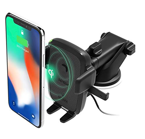 iOttie Easy One Touch Wireless Qi Fast Charge Car Mount Kit, Fast Charge: Samsung Galaxy S10 S9 Plus S8 S7 Edge Note 8 5, Standard Charge: IPhone X 8 Plus & Qi Enabled Devices, + Dual Car Charger