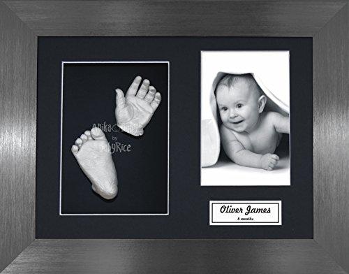BabyRice Baby Casting Kit / 11.5x8.5' Brushed Pewter Frame/Black 3 Hole Mount/Black Backing/Silver Paint