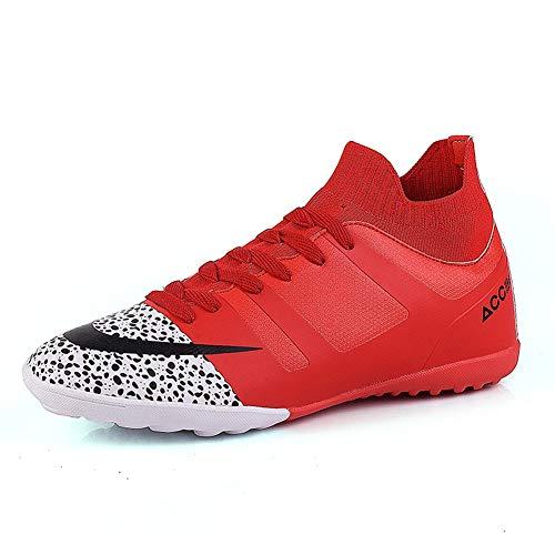 TAZAN Hombre Zapatos de fútbol Profesional Negro Jóvenes Fútbol Zapatos Spike al Aire Libre Ciencias Ciencias Profesionales Fútbol Zapatos Adolescente Deporte Azul (4 Color) 36-49,Red2,49