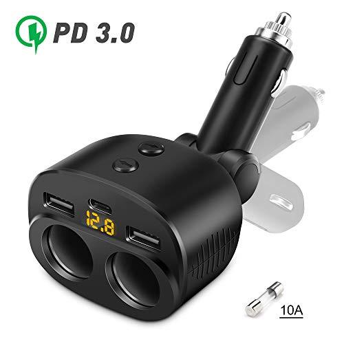 USB C Caricabatterie Auto, Accendino Accendisigari Auto USB Splitter con Display A Led Di Tensione, Doppia Porta USB da 2,4A e Tipo C 3,1A Compatibile