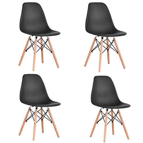 WV LeisureMaster Estilo de Diseño Retro Comedor Silla Salón Salón Silla de Oficina Pierna de Madera, Juego de 4, (Negro)