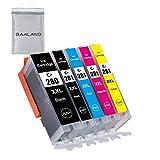 BAALAND 280 281 Compatible Ink cartridges Replacement for Canon PGI-280XXL CLI-281XXL PGI280 XXL CLI281XXL Used in Canon PIXMA TS9120 TR7520 TR8520 TS6120 TS6220 TS8120 TS8220 TS9520 TS9521C (5 Pack)