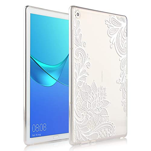 Eouine for Huawei Mediapad M5 Lite 8.0 Case, Cover Silicone Transparent with Pattern Slim Shockproof Soft Gel TPU Shell Sleeve Skin for Huawei Mediapad M5 Lite 8.0' Tablet, White Flower