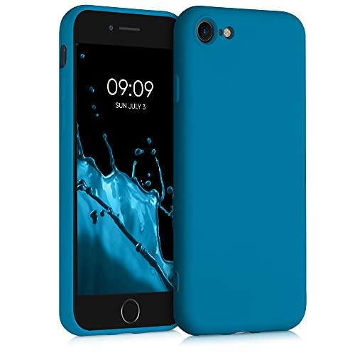 kwmobile Carcasa Compatible con Apple iPhone 7/8 / SE (2020) - Funda de Silicona para móvil - Cover Trasero en Azul océano