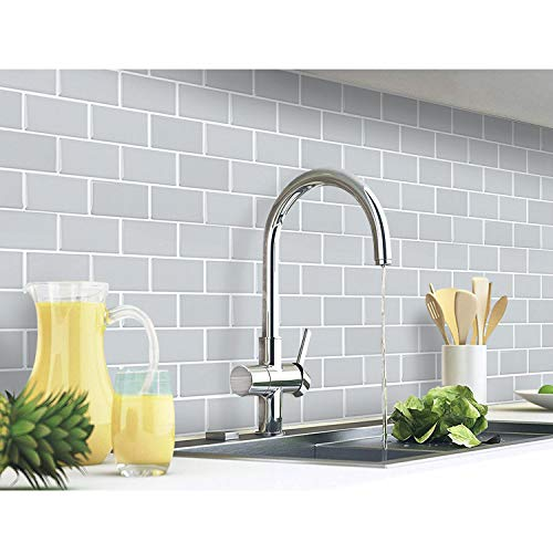 Yoillione 10 Pcs 3D Autocollant Mural Imperméable Auto-adhésif Carrelage Adhesif Mural Salle de Bain, Carreaux Adhesif Mural Cuisine, Revetement Mural Gris Carrelage Autocollant