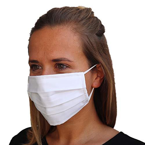 LIEVD® Mundschutz Maske 100% Baumwolle Made in Germany   OEKO-TEX 100   Gesichtsmaske waschbar   Mund und Nasenschutz wiederverwendbar   Behelfsmaske 2-lagig (Größe L - Weiß)