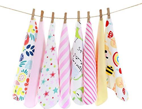 CuteOn Paquete de 8 Súper Suave Bebé Washcloth Alimentación Limpiar Paño para Recién nacido Chicos & Chicas Rosado Arco iris