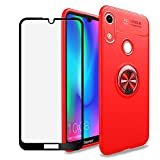 BestShare for Huawei Honor Play 8A / Honor 8A / Y6 2019 Case & Tempered Glass Screen Protector, Slim Fit Anti-Scratch Shockproof Kickstand Cover & Magnetic Car Mount Ring Grip, Red