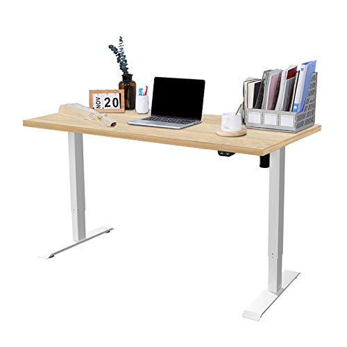 FLEXISPOT EC1 Height Adjustable Electric Standing Desk with Desktop,2-Stage Desk with Single Motor Heavy Duty Steel Stand up Desk for Home Office (120 * 60cm, White Frame+Maple Desktop)