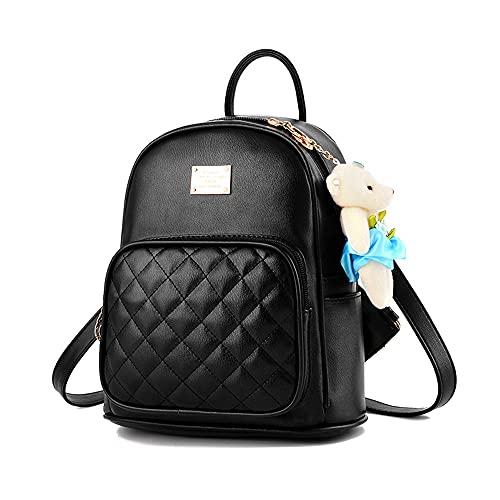 Mini Babala School Taschen Rucksack Frauen Handtaschen Reisetasche Satchel Metall Mode PU-Leder, 01 Schwarz, Einheitsgröße