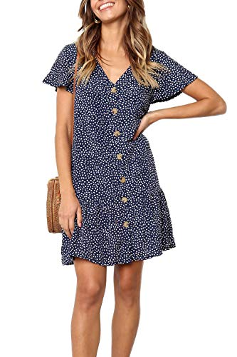 Ajpguot Verano Mujer Impresión Mini Vestidos de Playa Elegante Corto Dress de...