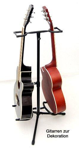 2-fach Gitarrenständer Metall Doppel Gitarrenstand für Akusitk Gitarre und E-Gitarre