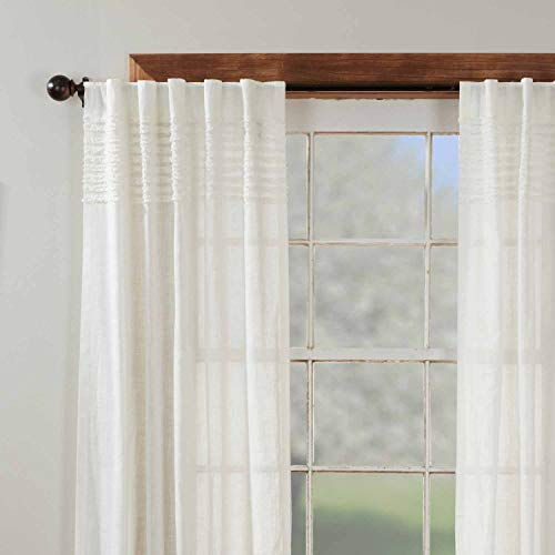 """Kathryn Panel Curtains, Set of 2, 84"""" Long, Ruffled Curtains in a Linen-Look Soft White Cotton Semi-Sheer Fabric, Farmhouse, Cottage, Country Style Sheer Drapes"""