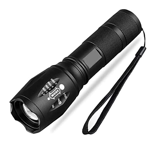 Shree Khodiyar Creation TACLIGHT Metal LED Torch Flashlight, XML T6 Water Resistance 5Modes Zoom Torch with Adjustable Focus with 3 AAA Battery (Emergency Light) (Pack of 1)