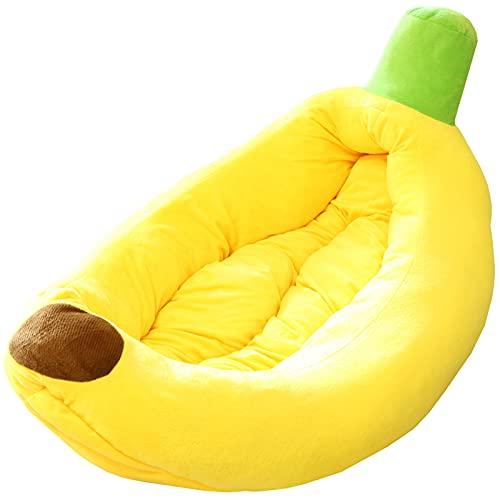 Meyy, tappetino morbido per gatti a forma di banana Peel Cat House (giallo, piccolo)