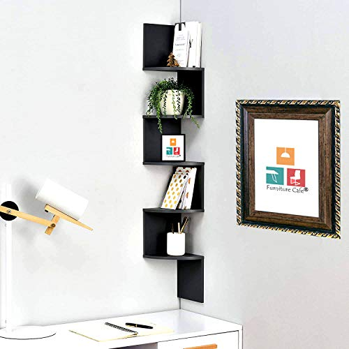 Furniture Cafe Wooden Wall Shelves | Corner Hanging Shelf for Living Room Stylish | Zig Zag Home Decor Floating Display Rack Storage Organizer Unique Design with Dark Brown Finish 5 Tiers