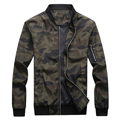 FRC0LT 2019 Men Camouflage Jackets Men Coats Camo Bomber Jacket Men Zipper Up Outwear (M,Army Green)