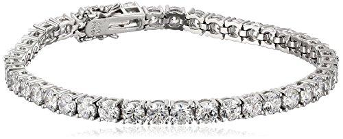 Platinum Plated Sterling Silver Tennis Bracelet set with Round Cut Swarovski Zirconia (16.77 cttw), 7.25'