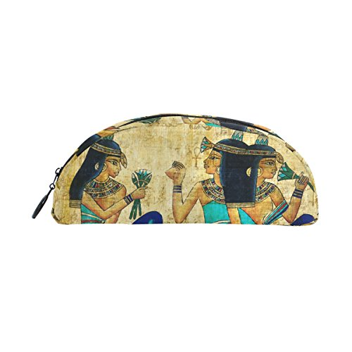 COOSUN Oude Egyptische perkament potlood Case Semicircle briefpapier Pen Bag Pouch Houder Case Make-up Pouch Cosmetische tas voor vrouwen meisjes