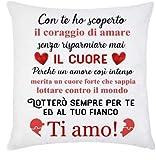 Gattablu Federa per Cuscino Un Amore Intenso, lotterò per Te! Ti Amo! Idea Regalo per Lui e lei, San Valentino!