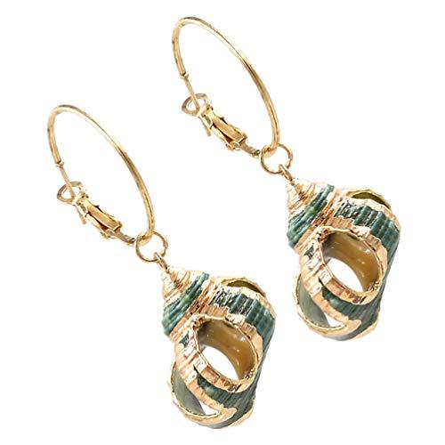 Amosfun 1 Pair Seashell Earrings Vintage Style Alloy Hollow Conch Drop Hoop Earrings Decorative Ear Jewelry for Women Ladies Mom
