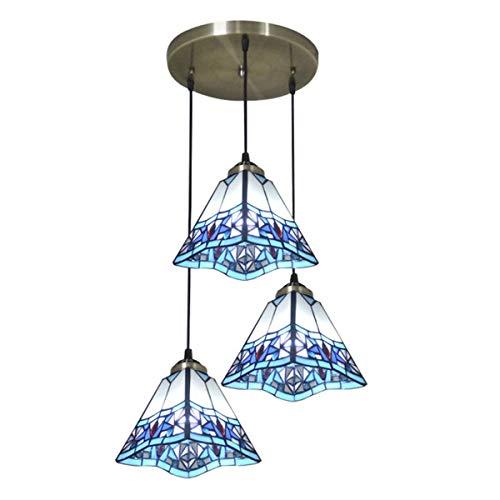 Tiffany Style Tulip - Lámpara colgante de 3 luces para comedor, estilo vintage hecho a mano para lámparas de cocina, dormitorio, cafetería, bar