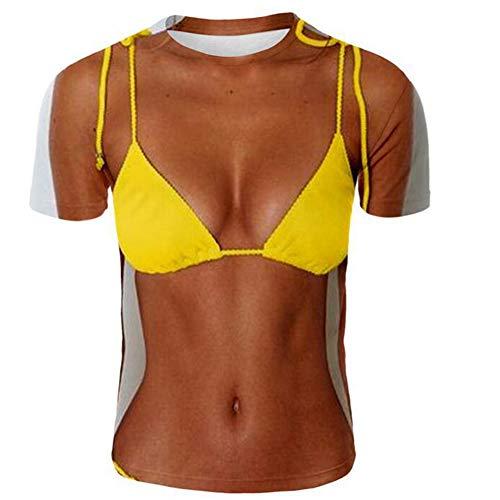 Zomer Unisex 3D T-Shirt, BH Patroon 3D Korte Mouwen, Creatieve Mode Vrouwen Shirt, Crew Neck Persoonlijkheid Losse Casual Creatieve Tops, voor Vrouwen en Mannen