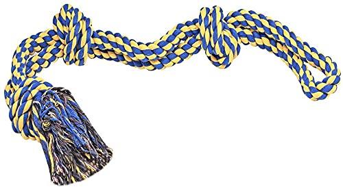 Hundespielzeug Seil Unzerstörbar mit 3 Knoten Aus Baumwollknoten für große Hunderassenr (Gelb & Blau)
